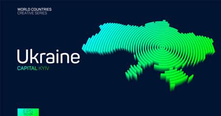 Isometric map of Ukraine with neon circle lines