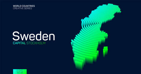 Isometric map of Sweden with neon circle lines
