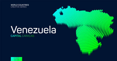 Isometric map of Venezuela with neon circle lines