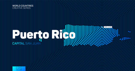 Abstract map of Puerto Rico with hexagon lines