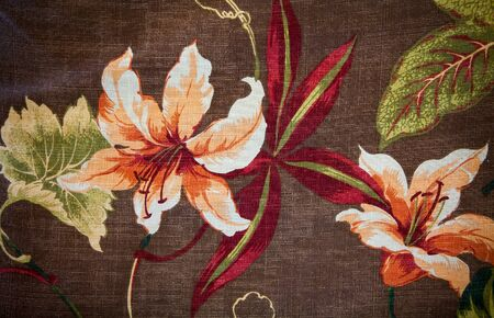 fancywork: Fragment of colorful retro tapestry textile pattern with floral ornament useful as background