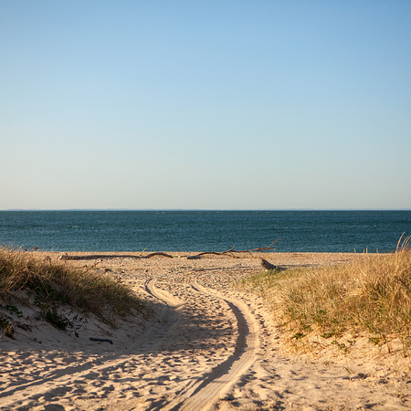 montauk: Beach road in Montauk, Long Island, NY, Tracks on sand beach