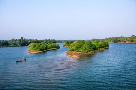 backwater: Beautiful travel Backwater scenery from Kerala, India Stock Photo