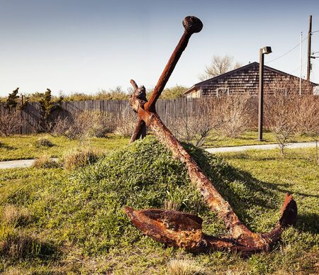 montauk: big rusty anchor in Montauk city, USA