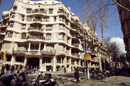 BARCELONA, CATALONIA - MART 2, 2016: Day view of Casa Mila La Pedrera in Barcelona, Catalonia, Spain