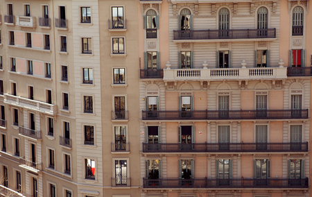old building facade: beautiful renovated old building facade, Barcelona, Spain