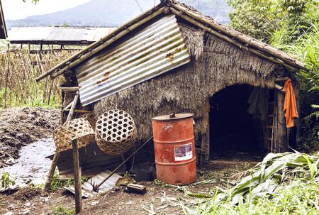 Slum house near the rice terrace in Bali, Indonesia