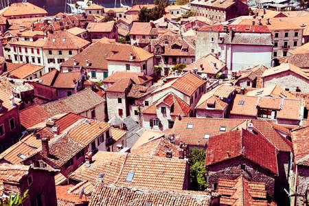 kotor: Old Town Kotor. Kotor rooftops of the old town. Old town of Kotor and Boka Kotorska bay in Montenegro Stock Photo