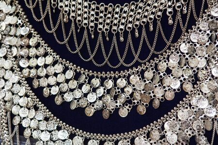 silver jewelry: beautiful indian silver jewelry on black background