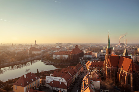 outumn: Panorama Wroclaw Old Town roofs at sunset. Europe, Poland Stock Photo