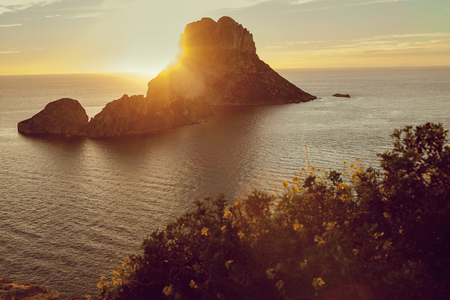 Seascape of sunset on Es Vedra island, Ibiza, Baleares, Spain