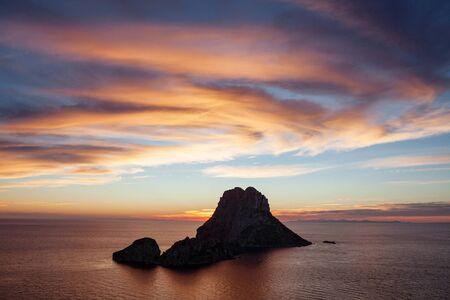 Magical Seascape of sunset on Es Vedra island, Ibiza, Baleares, Spain - Image