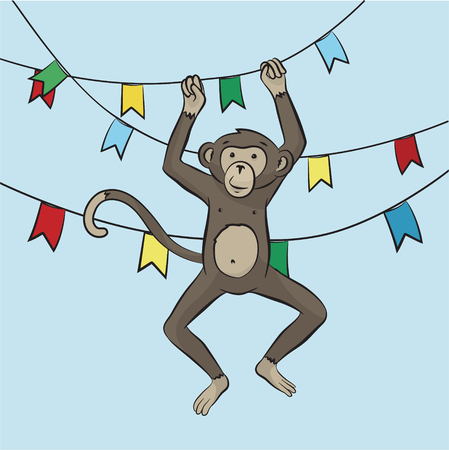 playful: Playful monkey hanging on the garland of flags. Symbol of the year 2016