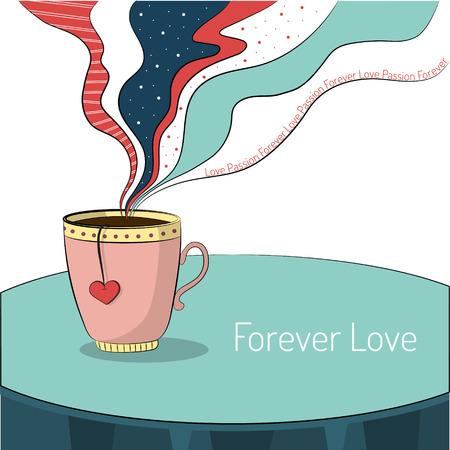 bebes lindos: Taza de té con la bolsita de corazón. El vapor se eleva por encima de una taza con el texto del amor, de la pasión, para siempre. Tarjeta del día de San Valentín