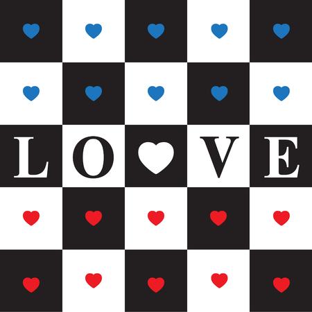 tablero de ajedrez: Tarjeta del día de San Valentín con los corazones rojos y azules en blanco y negro del tablero de ajedrez clásico. corazón rojo y el amor de texto