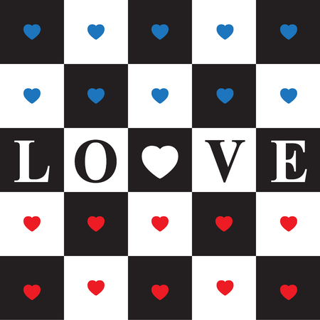romance strategies: Valentines day card with Blue and Red Hearts on black and white classic Chessboard. Red heart and text love