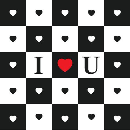 tablero de ajedrez: Tarjeta del día de San Valentín con los corazones blancos y negros en blanco y negro del tablero de ajedrez clásico. corazón rojo y la abreviatura Te amo. Vectores