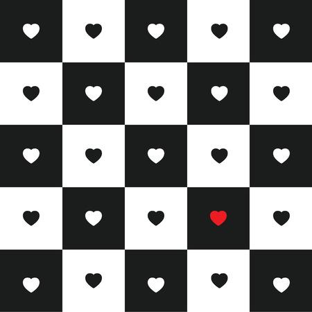 tablero de ajedrez: Tarjeta del día de San Valentín con los corazones blancos y negros en blanco y negro del tablero de ajedrez clásico. corazón rojo solo. Vectores