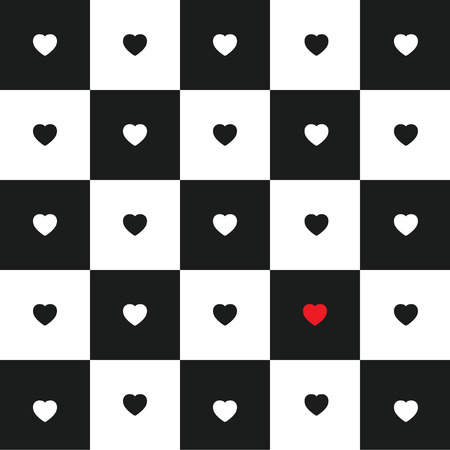 chessboard: Valentines day card with black and white Hearts on black and white classic Chessboard. Alone red heart. Illustration