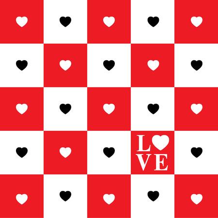 tablero de ajedrez: Tarjeta del día de San Valentín con los corazones blancos y negros en blanco y cuadrados rojos del tablero de ajedrez