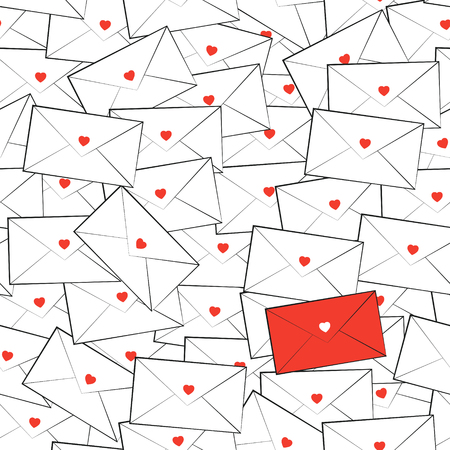 office romance: Vector seamless pattern of messy white envelopes. Alone red envelope with heart. Valentines Day card