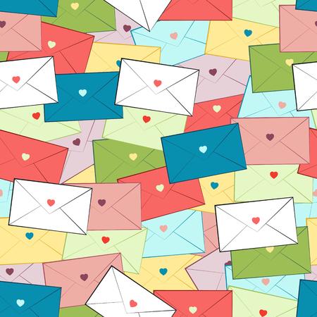 corazones azules: vector sin patrón multicolor de sobres desordenado. azul claro, azul, rosa claro, amarillo, blanco de papel verde,,, rojo con corazones multicolores Vectores