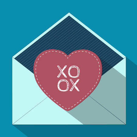 xoxo: Vector illustration of an open envelope with a gift postcard in flat design. Valentines day phrase  XOXO. Valentines Day card Illustration