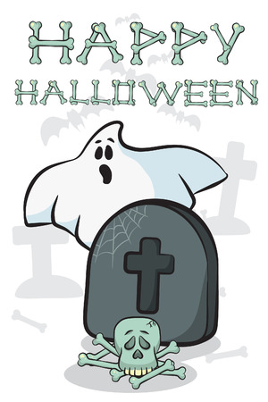 graves: Ghost of getting out of the graves. Happy Halloween card Illustration