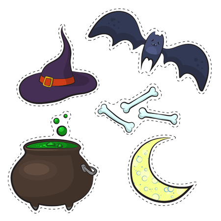 Set of Halloween items. Stickers style: cauldron potion, moon, bat, bones and witches hat