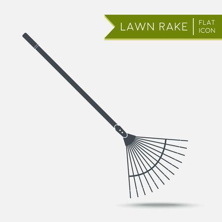 rake: Lawn rake icon. Flat illustration. Agriculture tool