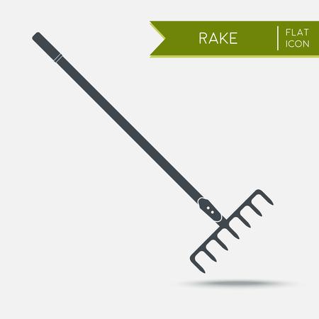 backyard work: Rake icon Flat. illustration. Agriculture tool