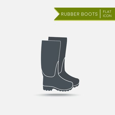 gumboots: Rubber boots icon. Waterproof shoes. Flat illustration. Agriculture tool Illustration