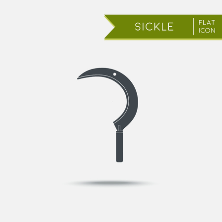 sickle: Sickle icon. Flat illustration. Agriculture tool