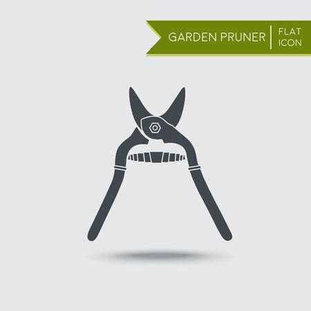 pruner: Secateurs or garden pruner. Flat illustration. Agriculture tool