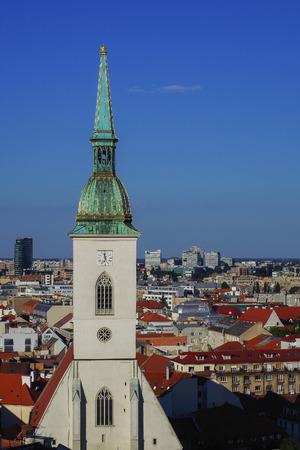saint martin: View of Roman Catholic St. Martins Cathedral and Bratislava city skyline. Katedrala svateho Martina. Bratislava, Slovakia. Stock Photo