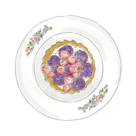 blueberry pie: sweetie dessert Illustration