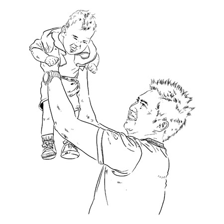 facial features: Child with his father illustrator Illustration