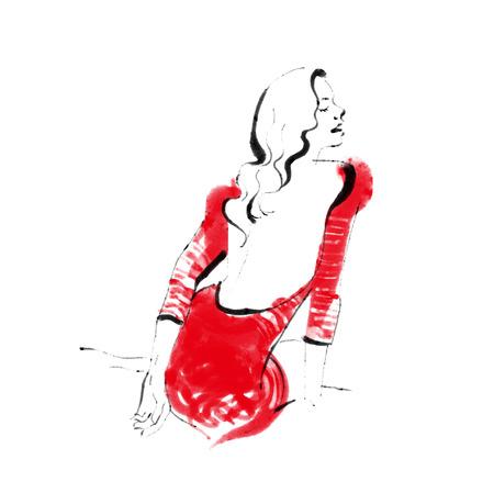 woman red dress: Woman wearing a red dress, fashion illustration