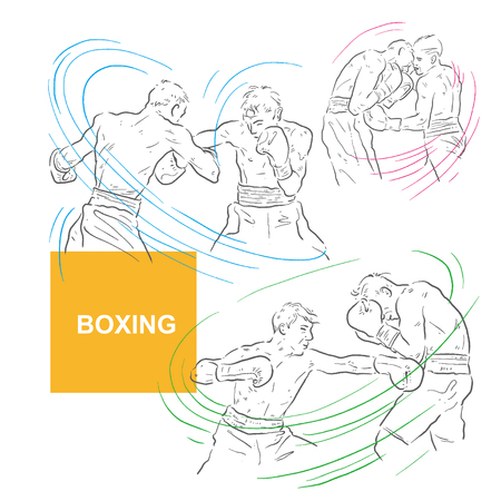 Boxing, two people, sport illustration, vector Ilustrace