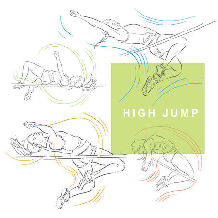 High jumpers, women athletes, sport illustration Ilustração