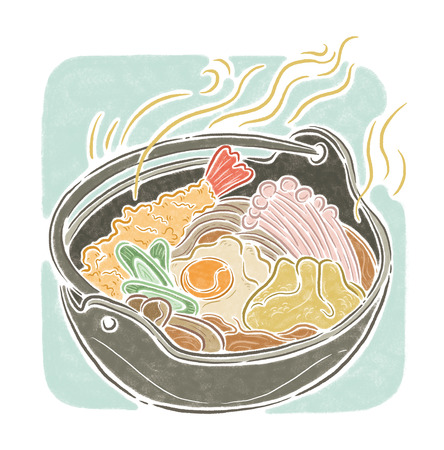 oolong: Noodles suop, food illustration