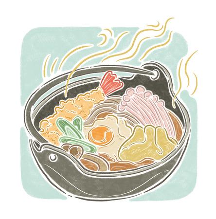 fried shrimp: Noodles suop, food illustration
