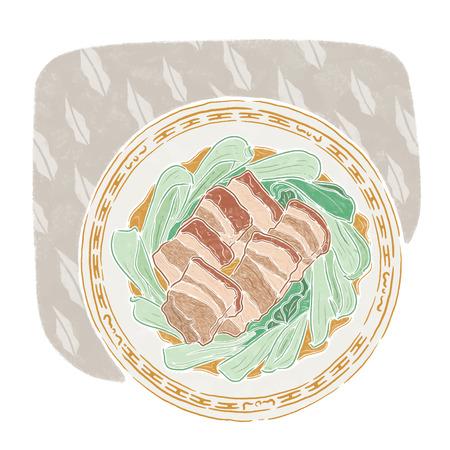 Pork stew with vegetables, food illustration
