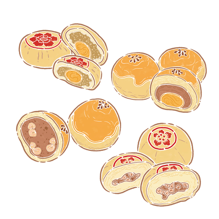 moon cake, food illustration