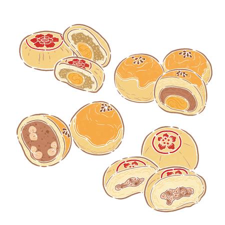 Pastel de luna, ilustración de alimentos