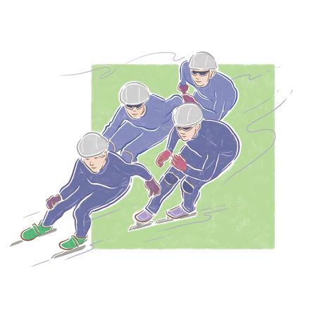 speed skating: speed skating, four person, sport illustration