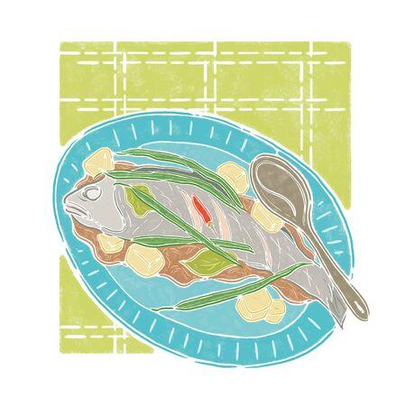food plate: fish and vegetables on a plate, food illustration Illustration