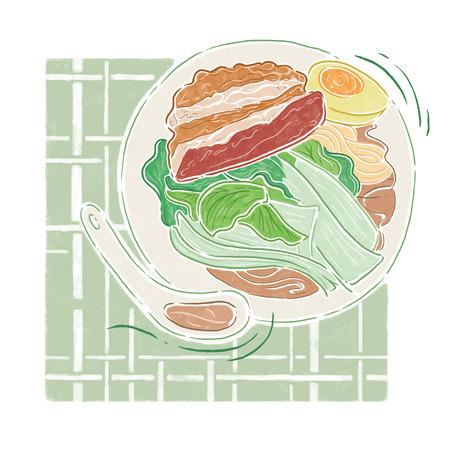 noodle soup: Pork and vegetable noodle soup Illustration