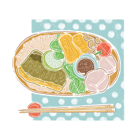 Japanese lunchbox, food illoustion
