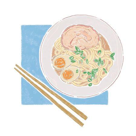 Japanese Noodles soup illustration
